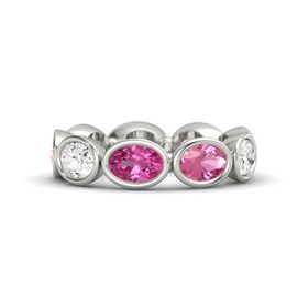Oval Pink Sapphire Platinum Ring with Pink Tourmaline and White Sapphire