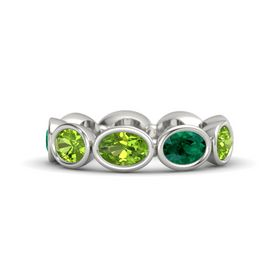 Oval Peridot Platinum Ring with Emerald and Peridot