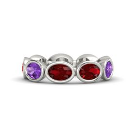 Oval Ruby Platinum Ring with Ruby & Amethyst