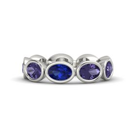 Oval Blue Sapphire Platinum Ring with Iolite