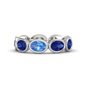 Oval Blue Topaz Platinum Ring with Blue Sapphire