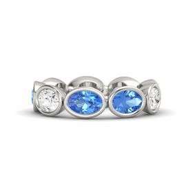 Oval Blue Topaz Platinum Ring with Blue Topaz and White Sapphire