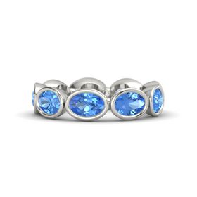 Oval Blue Topaz Platinum Ring with Blue Topaz