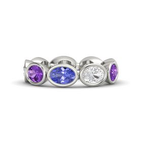 Oval Tanzanite Platinum Ring with White Sapphire and Amethyst
