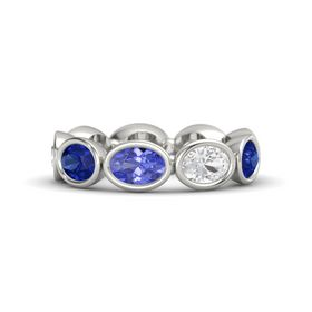Oval Tanzanite Platinum Ring with White Sapphire and Blue Sapphire
