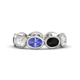 Oval Tanzanite Platinum Ring with Black Onyx and White Sapphire