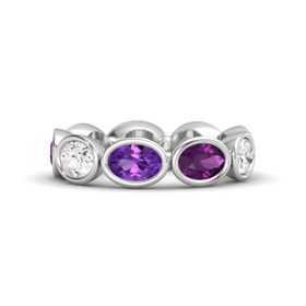 Oval Amethyst Sterling Silver Ring with Rhodolite Garnet and White Sapphire