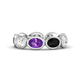 Oval Amethyst Sterling Silver Ring with Black Onyx and White Sapphire