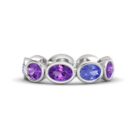 Oval Amethyst Sterling Silver Ring with Tanzanite and Amethyst