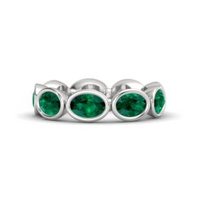 Oval Emerald Sterling Silver Ring with Emerald