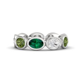 Oval Emerald Sterling Silver Ring with White Sapphire and Green Tourmaline