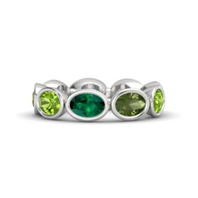 Oval Emerald Sterling Silver Ring with Green Tourmaline and Peridot