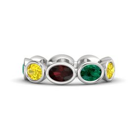 Oval Red Garnet Sterling Silver Ring with Emerald & Yellow Sapphire