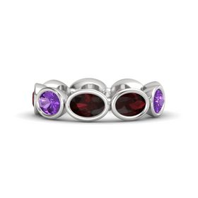 Oval Red Garnet Sterling Silver Ring with Red Garnet & Amethyst