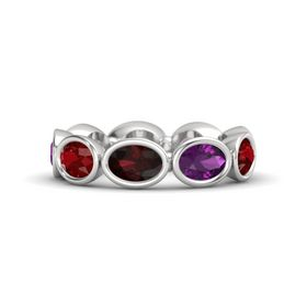 Oval Red Garnet Sterling Silver Ring with Rhodolite Garnet and Ruby