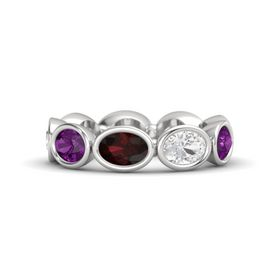 Oval Red Garnet Sterling Silver Ring with White Sapphire and Rhodolite Garnet