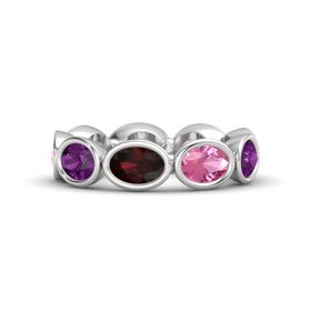 Oval Red Garnet Sterling Silver Ring with Pink Tourmaline and Rhodolite Garnet
