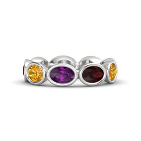 Oval Rhodolite Garnet Sterling Silver Ring with Red Garnet & Citrine