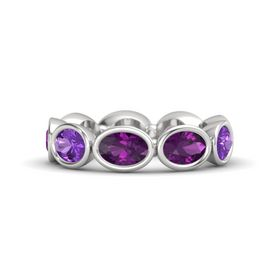 Oval Rhodolite Garnet Sterling Silver Ring with Rhodolite Garnet and Amethyst