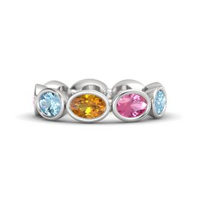 Oval Citrine Sterling Silver Ring with Pink Tourmaline & Aquamarine
