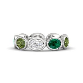 Oval White Sapphire Sterling Silver Ring with Emerald and Green Tourmaline