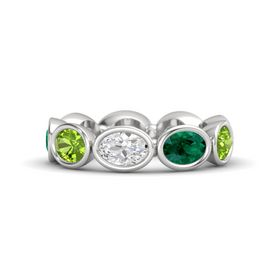 Oval White Sapphire Sterling Silver Ring with Emerald and Peridot