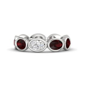 Oval White Sapphire Sterling Silver Ring with Red Garnet