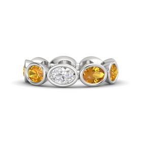 Oval White Sapphire Sterling Silver Ring with Citrine