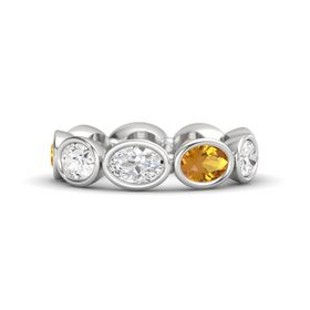 Oval White Sapphire Sterling Silver Ring with Citrine & White Sapphire