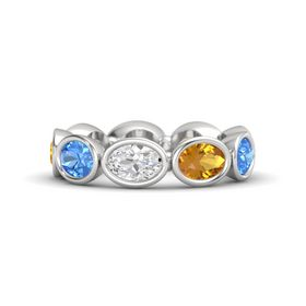 Oval White Sapphire Sterling Silver Ring with Citrine & Blue Topaz