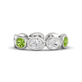 Oval White Sapphire Sterling Silver Ring with White Sapphire and Peridot