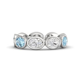 Oval White Sapphire Sterling Silver Ring with White Sapphire and Aquamarine