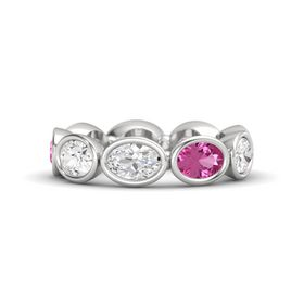 Oval White Sapphire Sterling Silver Ring with Pink Sapphire and White Sapphire