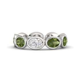 Oval White Sapphire Sterling Silver Ring with Green Tourmaline