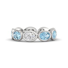 Oval White Sapphire Sterling Silver Ring with Aquamarine