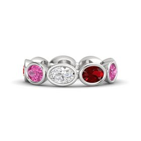 Oval White Sapphire Sterling Silver Ring with Ruby and Pink Sapphire