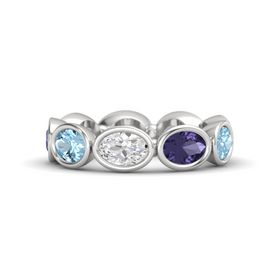Oval White Sapphire Sterling Silver Ring with Iolite and Aquamarine