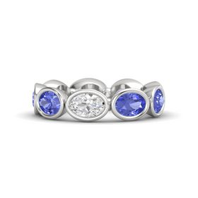 Oval White Sapphire Sterling Silver Ring with Tanzanite