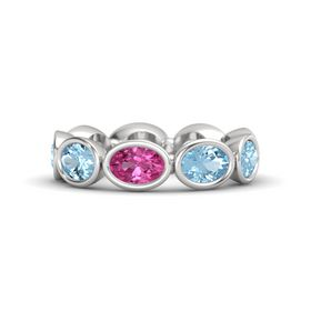Oval Pink Sapphire Sterling Silver Ring with Aquamarine
