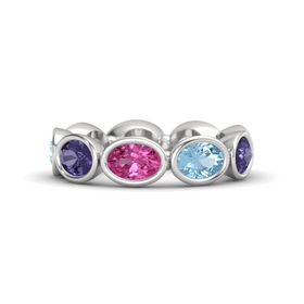 Oval Pink Sapphire Sterling Silver Ring with Aquamarine & Iolite
