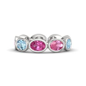 Oval Pink Sapphire Sterling Silver Ring with Pink Tourmaline and Aquamarine