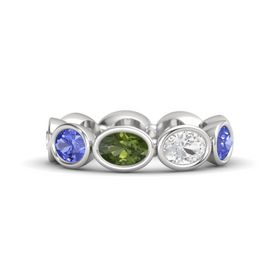 Oval Green Tourmaline Sterling Silver Ring with White Sapphire & Tanzanite