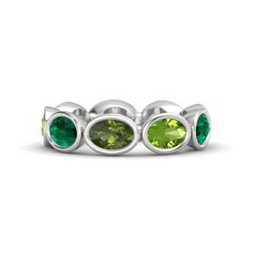 Oval Green Tourmaline Sterling Silver Ring with Peridot & Emerald