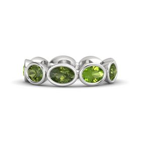 Oval Green Tourmaline Sterling Silver Ring with Peridot and Green Tourmaline