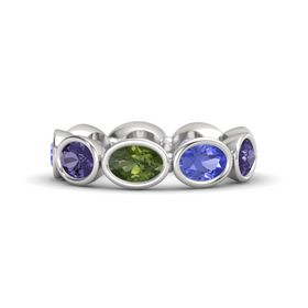 Oval Green Tourmaline Sterling Silver Ring with Tanzanite & Iolite