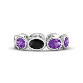 Oval Black Onyx Sterling Silver Ring with Amethyst