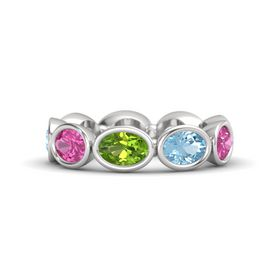Oval Peridot Sterling Silver Ring with Aquamarine & Pink Sapphire