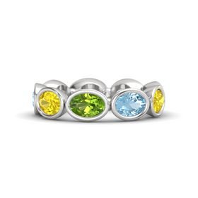 Oval Peridot Sterling Silver Ring with Aquamarine & Yellow Sapphire
