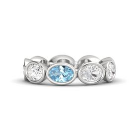Oval Aquamarine Sterling Silver Ring with White Sapphire