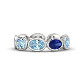Oval Aquamarine Sterling Silver Ring with Sapphire & Aquamarine